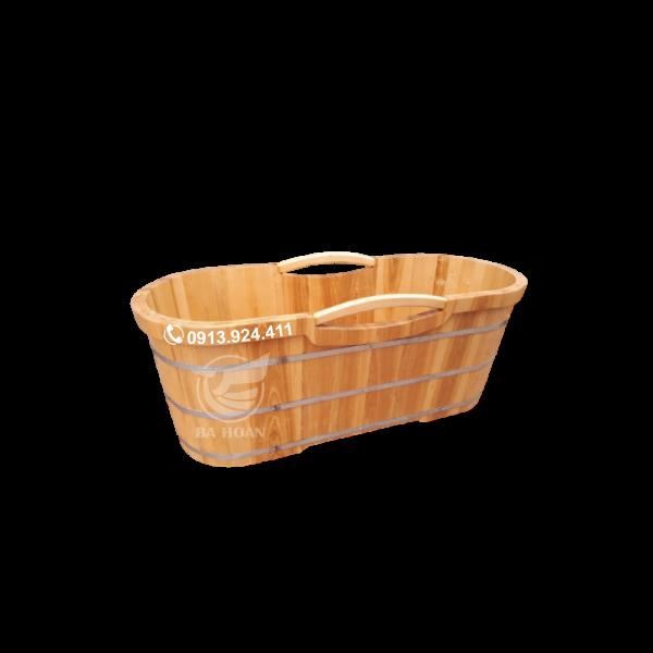 Bồn tắm bằng gỗ sồi cao cấp bo viền