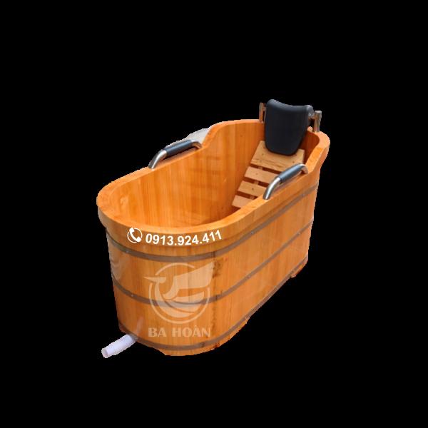 Bồn tắm gỗ pơmu Nhật cao cấp (có tay vịn)