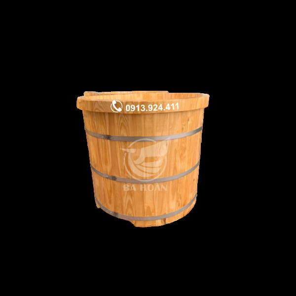 Bồn tắm tròn gỗ Pơ mu Việt bo viền